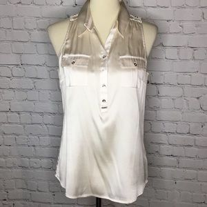 WHBM SILK SLEEVELESS SHIRT